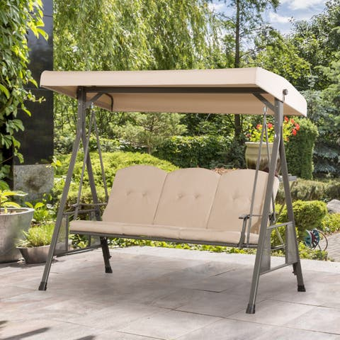 CorLiving Pheonix 3 Seat Patio Swing with Adjustable Canopy