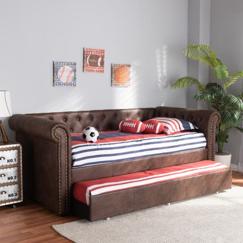 Carbon Loft Zoltowski Tufted Contemporary Daybed with Trundle