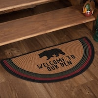 "Red Rustic Flooring VHC Wyatt Bear Welcome to Our Den Rug Jute Nature Print Stenciled Half Circle - 1'4.5"" x 2'9"""