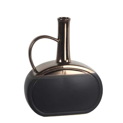 Privilege Ceramic Metallic Gold and Matt Black Vase