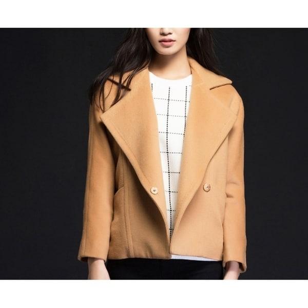 Women's Camel Notched Lapels Wool Coat