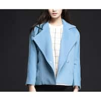 Women's Blue Notched Lapels Wool Coat