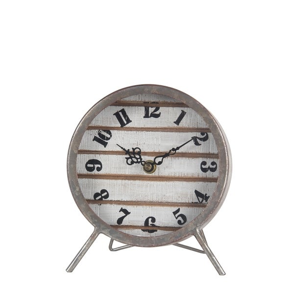 Privilege Small Wood and Metal Table Clock
