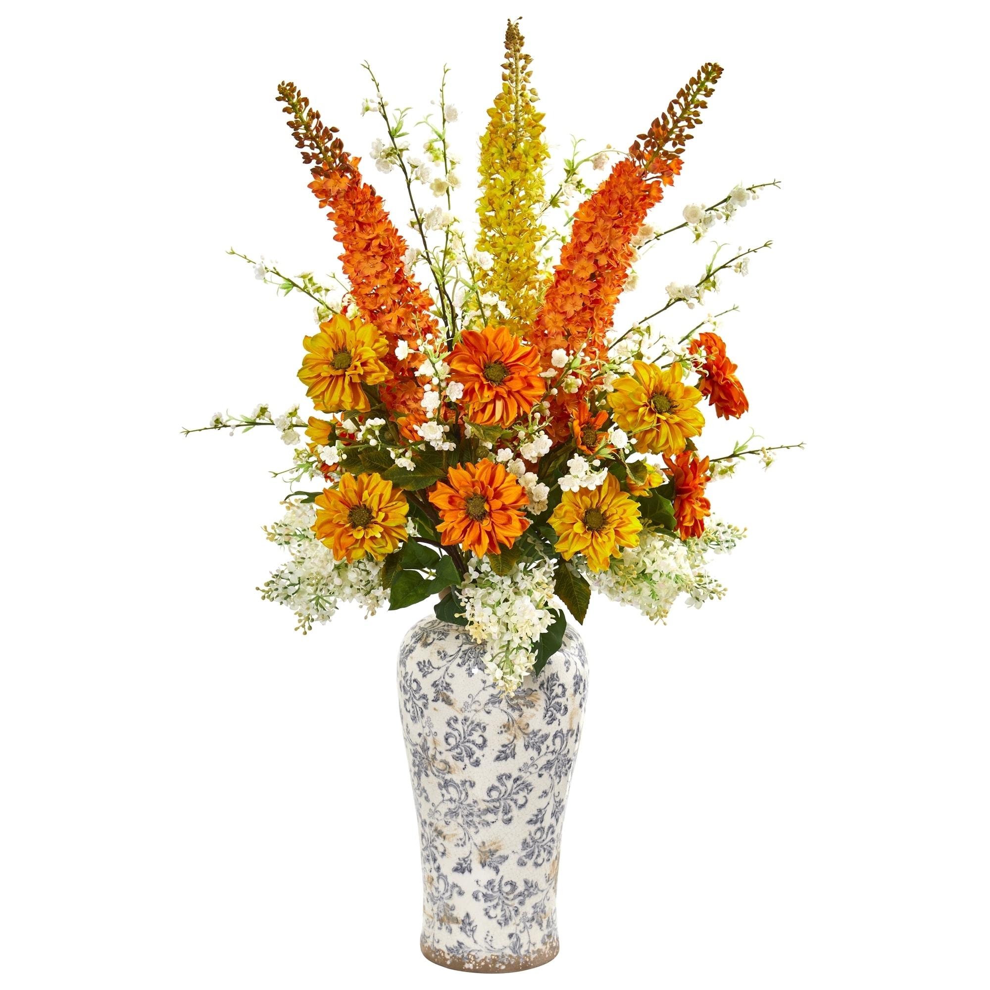 41 Mix Floral Artificial Arrangement in Decorative Urn