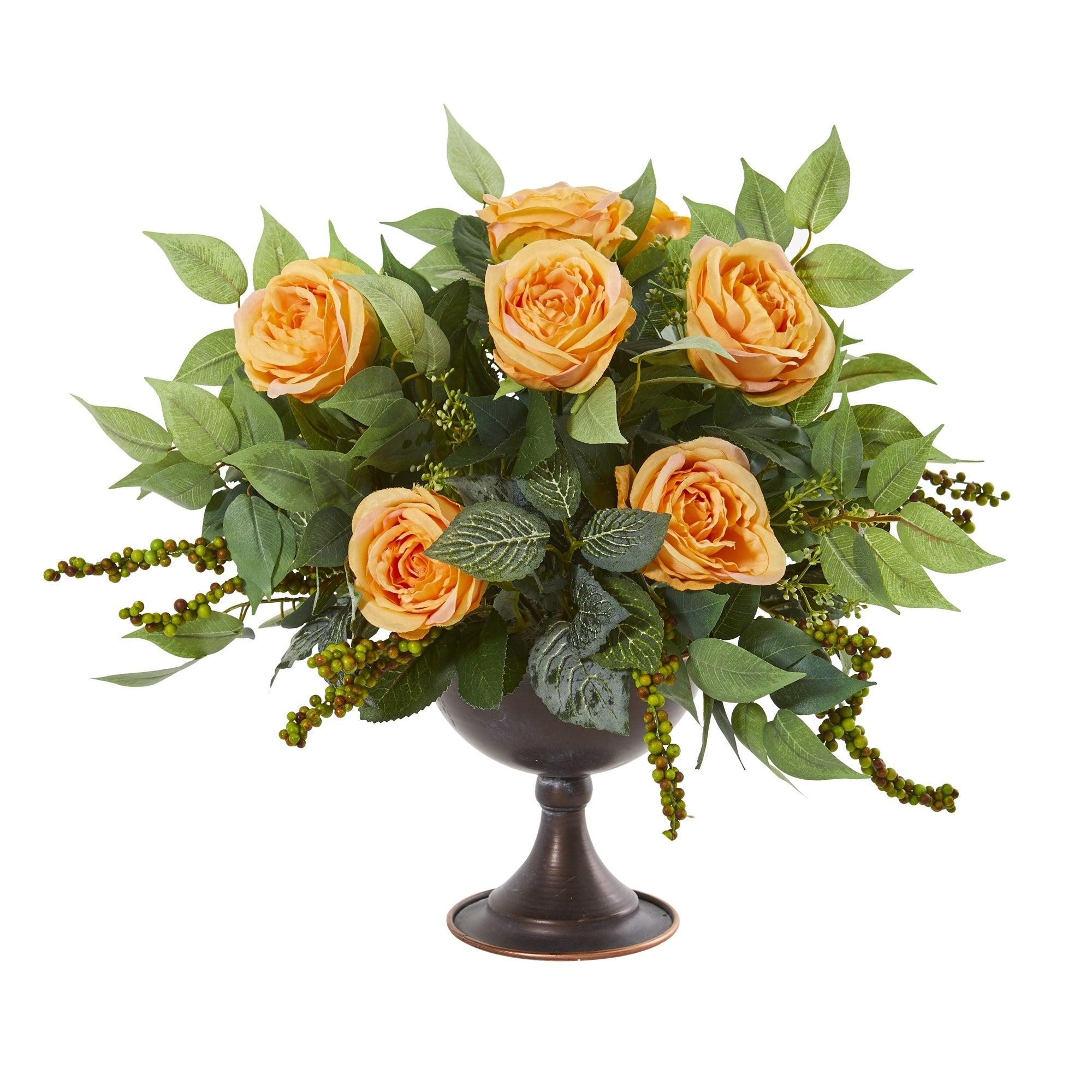 Roses and Mix Greens Artificial Arrangement in Metal Chalice