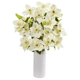 "21"" Anemone Artificial Arrangement in White Vase"