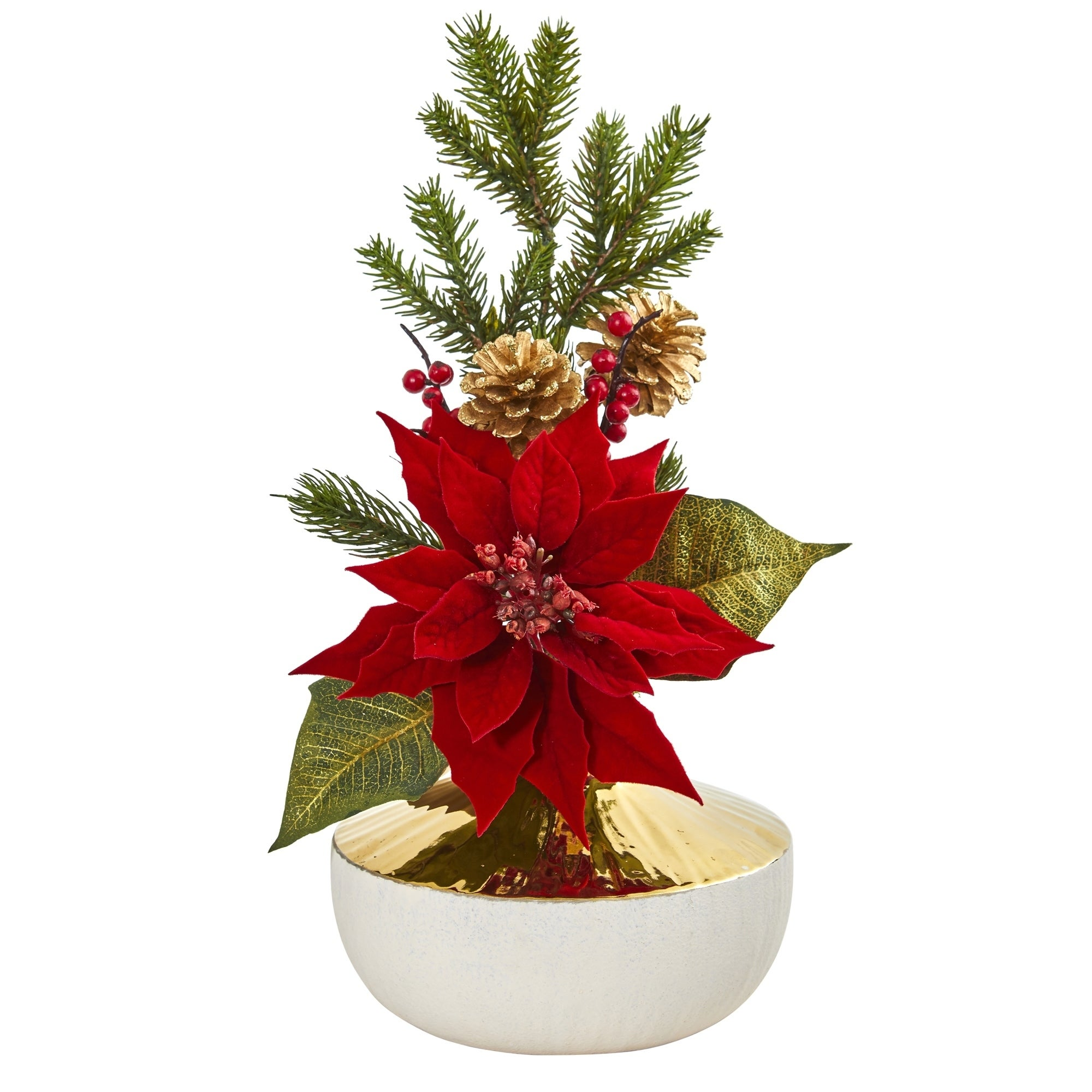 Poinsettia Artificial Arrangement in Decorative Vase