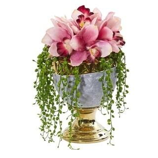 """13"""" Cymbidium Orchid Artificial Arrangement in Designer Urn"""