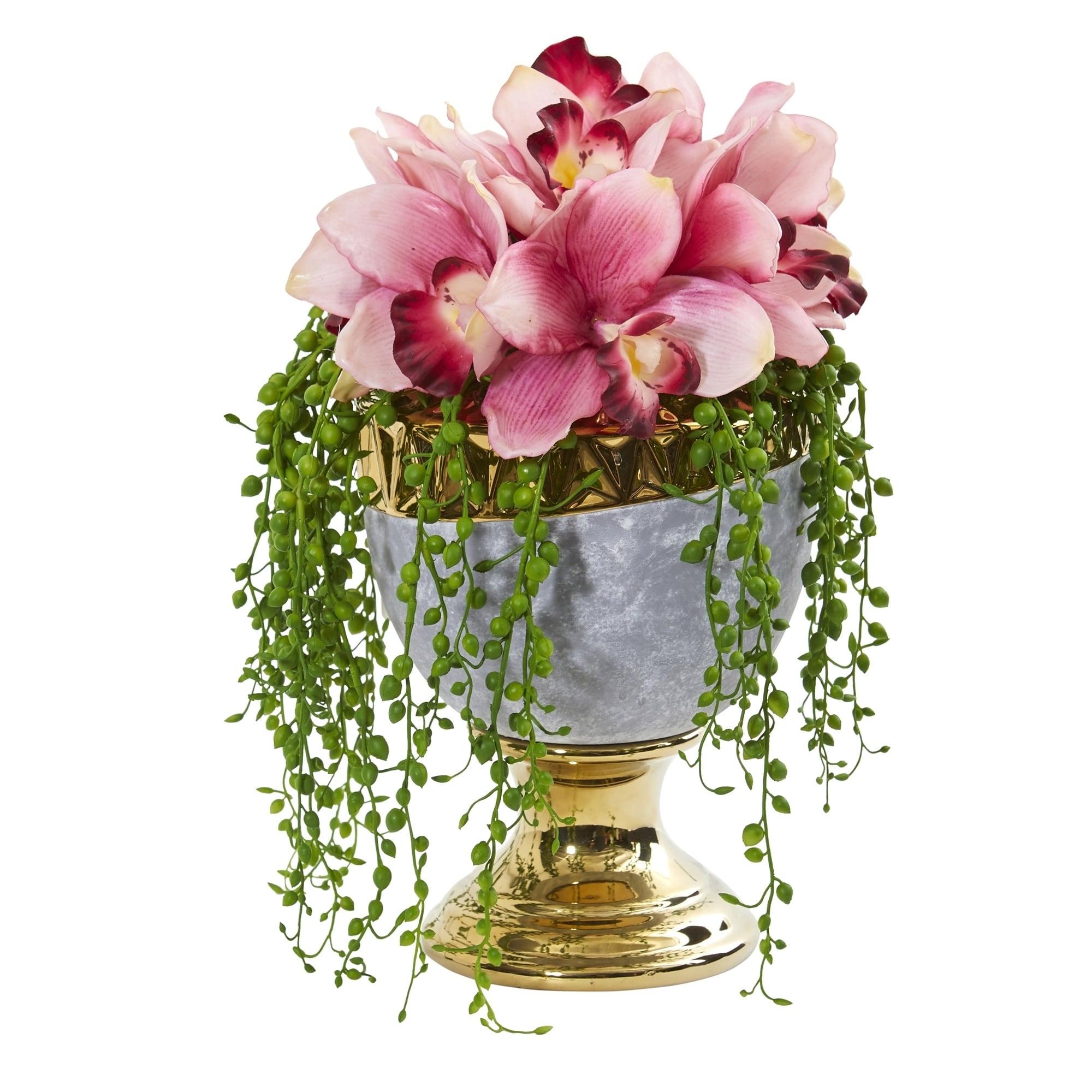 13 Cymbidium Orchid Artificial Arrangement in Designer Urn