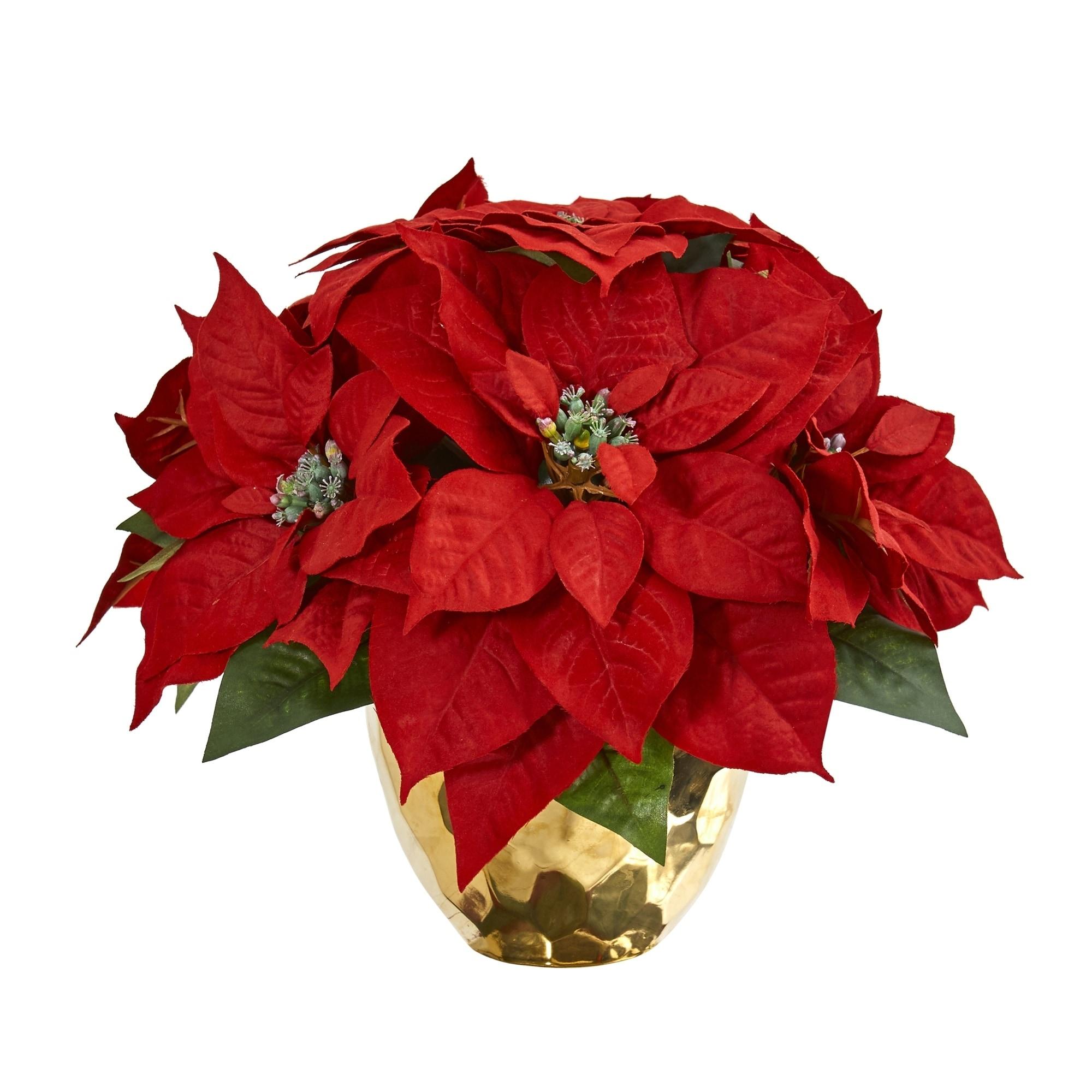 Poinsettia Artificial Arrangement in Golden Vase