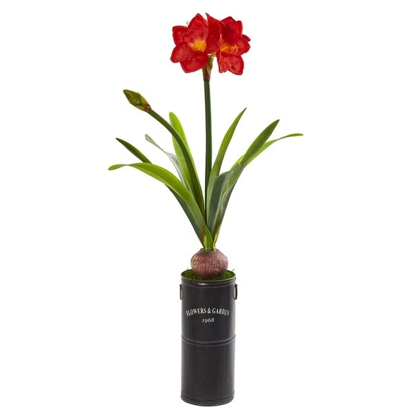 "40"" Amaryllis Artificial Plant in Garden Planter"