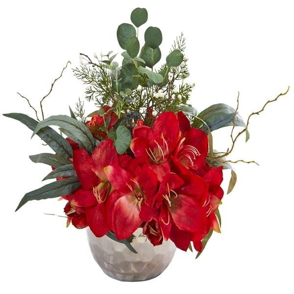 Amaryllis and Eucalyptus Artificial Arrangement in Silver Vase