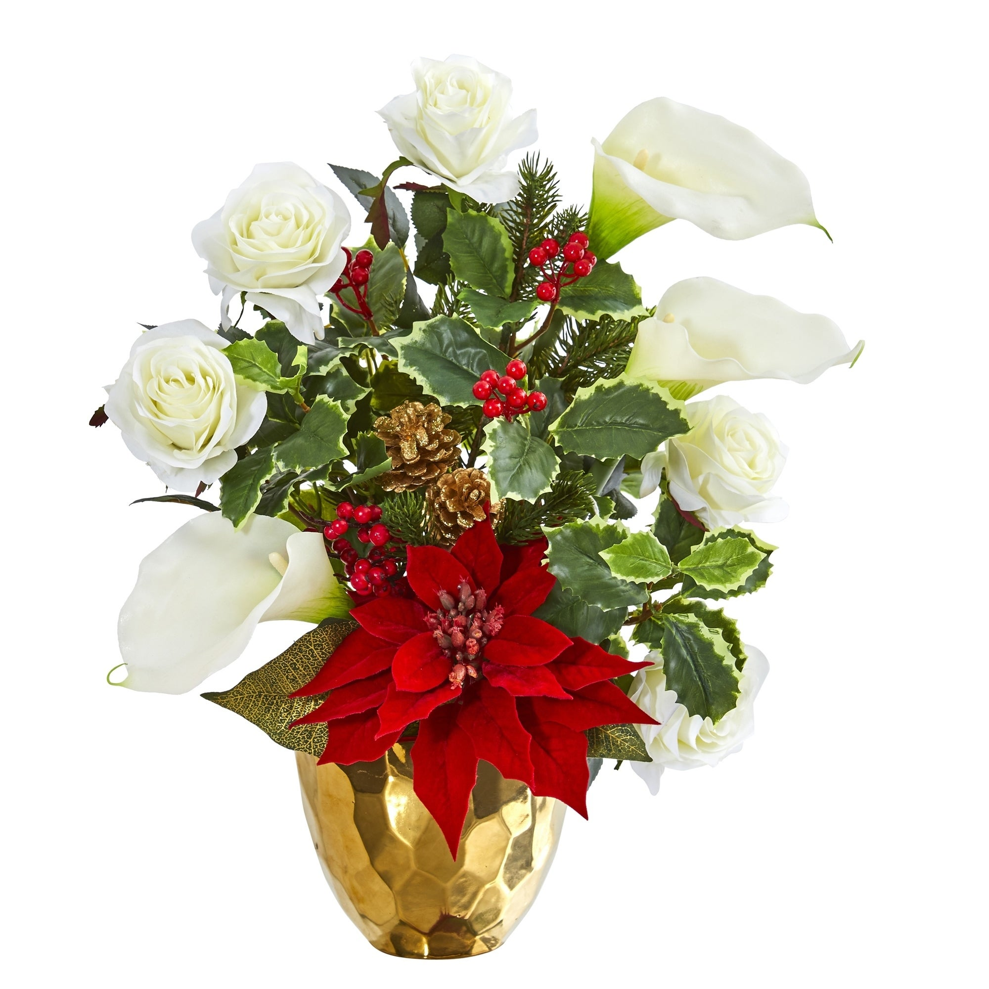 Holiday Inspired Artificial Arrangement in Gold Vase