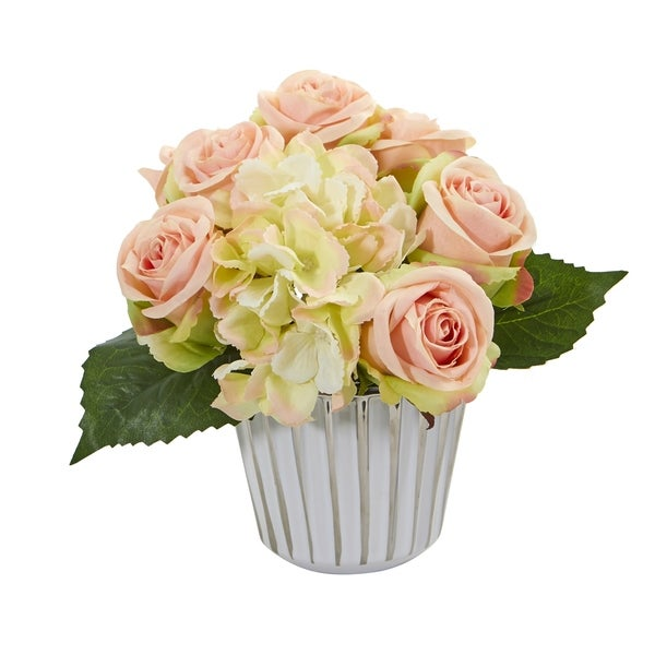 Rose and Hydrangea Bouquet Artificial in White and Silver Trimmed Vase