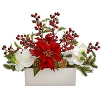 Phalaenopsis Orchid, Poinsettia and Holly Berry Artificial Arrangement