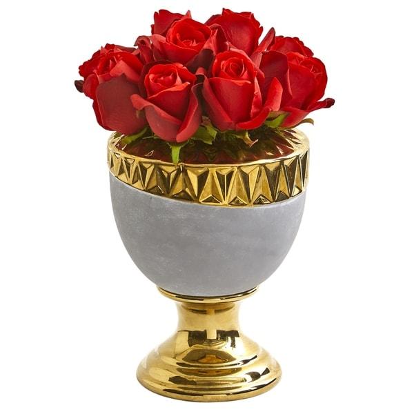 Elegant Red Rose Artificial Arrangement in Designer Urn