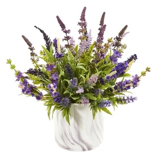 "15"" Lavender Artificial Arrangement in Marble Vase"