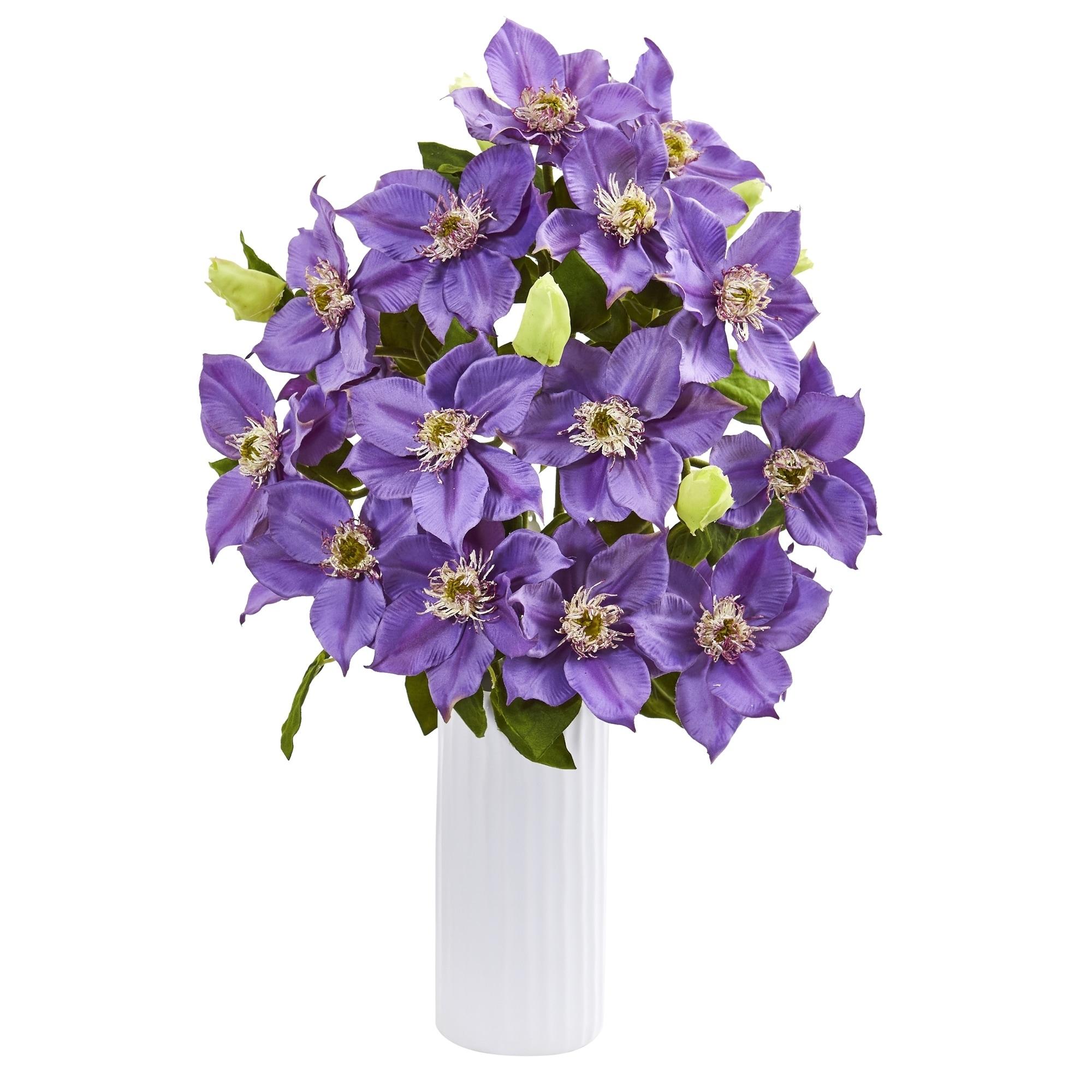 21 Anemone Artificial Arrangement in White Vase
