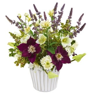 Mixed Artificial Flower Arrangement in Decorative Vase
