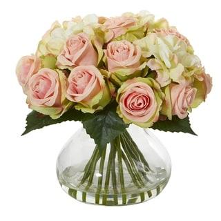Rose and Hydrangea Artificial Arrangement in Glass Vase