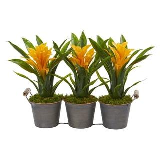 Triple Potted Bromeliad Artificial Plant in Decorative Planter