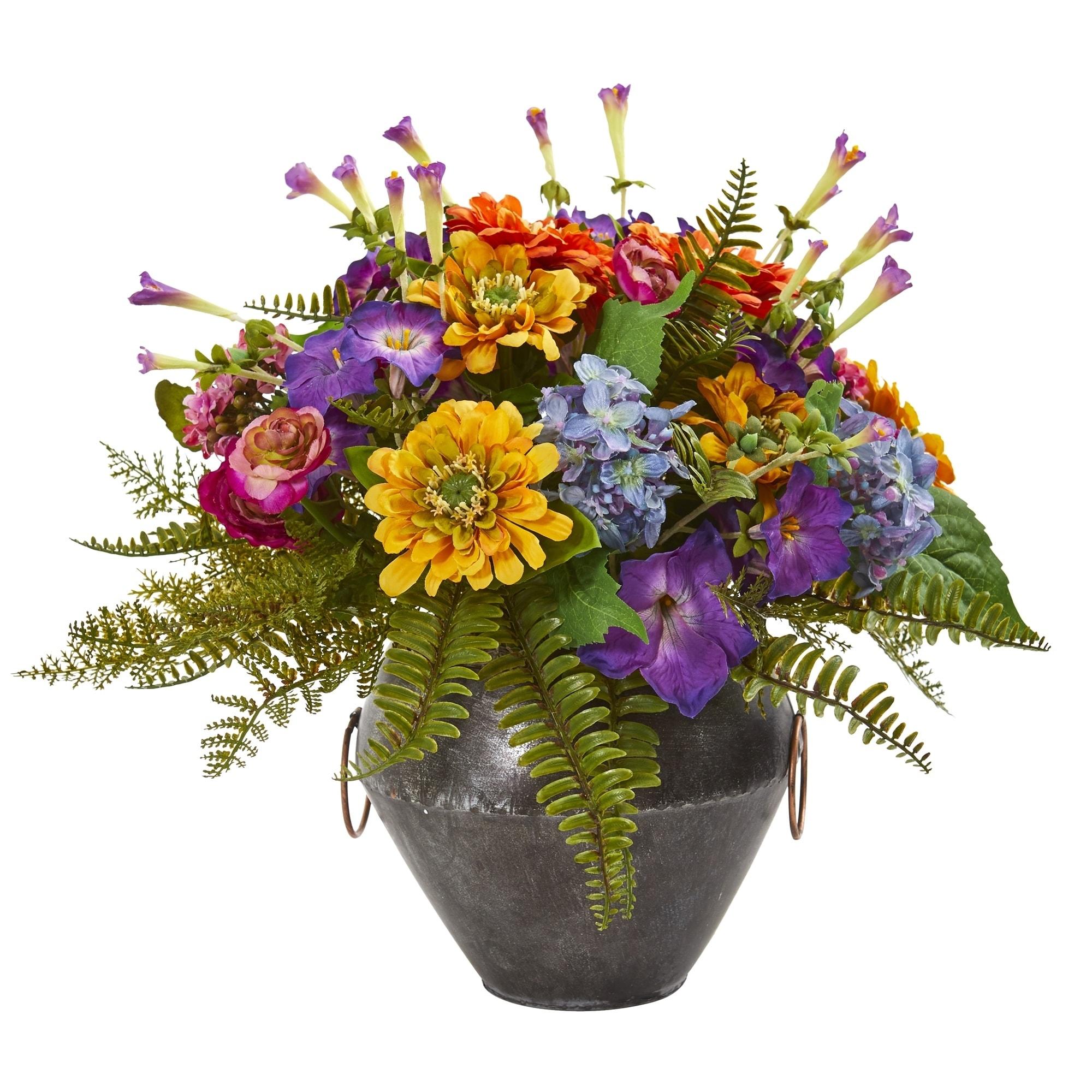 Mixed Flowers Artificial Arrangement in Metal Bowl