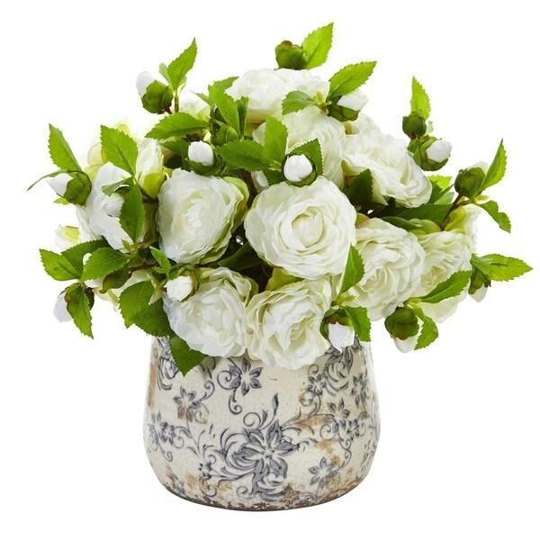 Camellia Artificial Arrangement in Decorative Vase