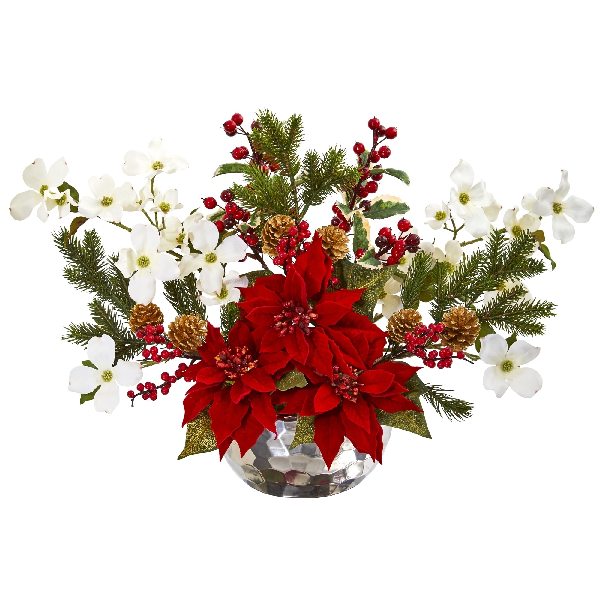 Poinsettia, Dogwood, Berry and Pine Artificial Arrangement in Silver Vase