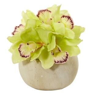Cymbidium Orchid Artificial Arrangement in Stone Vase