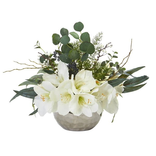 Amaryllis and Eucalyptus Artificial Arrangement in Silver Vase