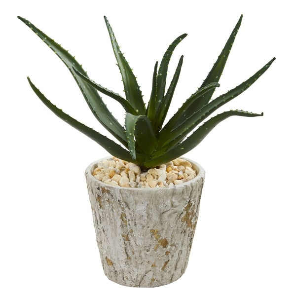 "16"" Aloe Artificial Plant in Weathered Planter"