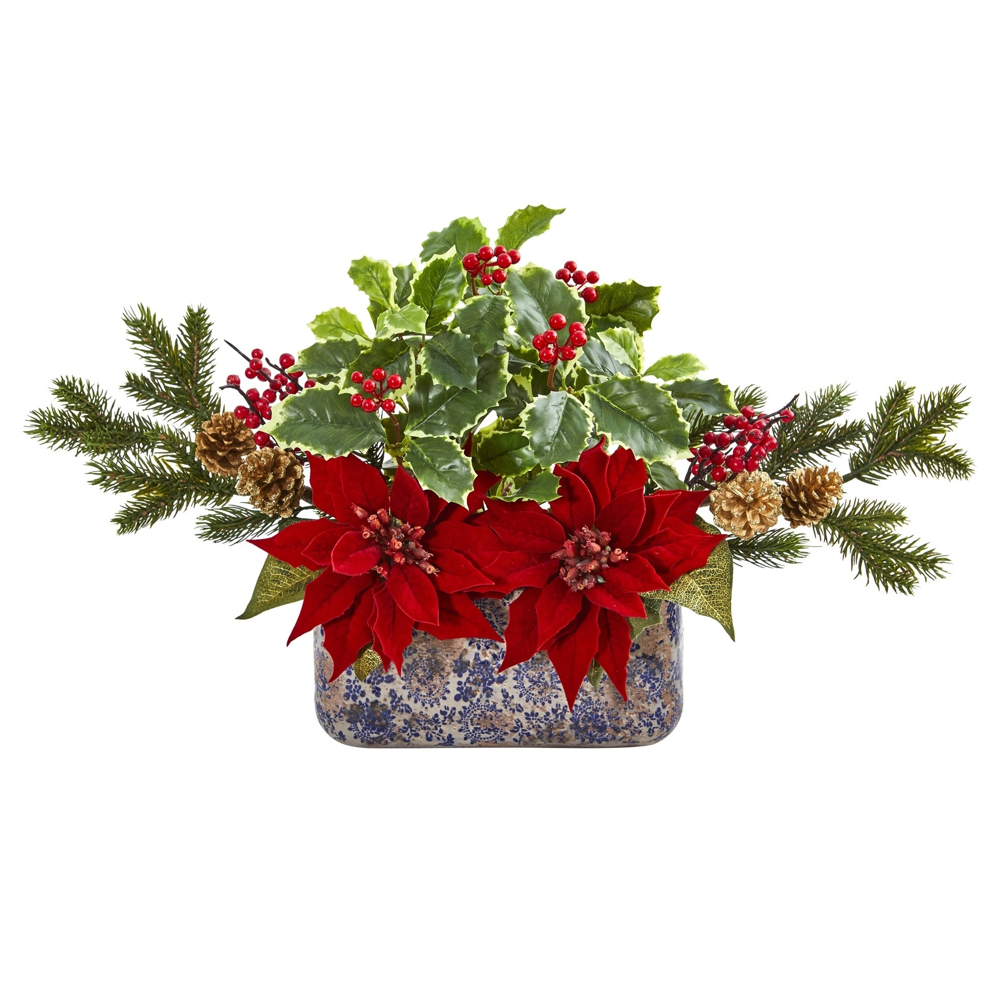 Poinsettia, Berry and Holly Artificial Arrangement in Vase