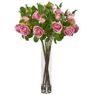 Rose Artificial Arrangement in Cylinder Vase