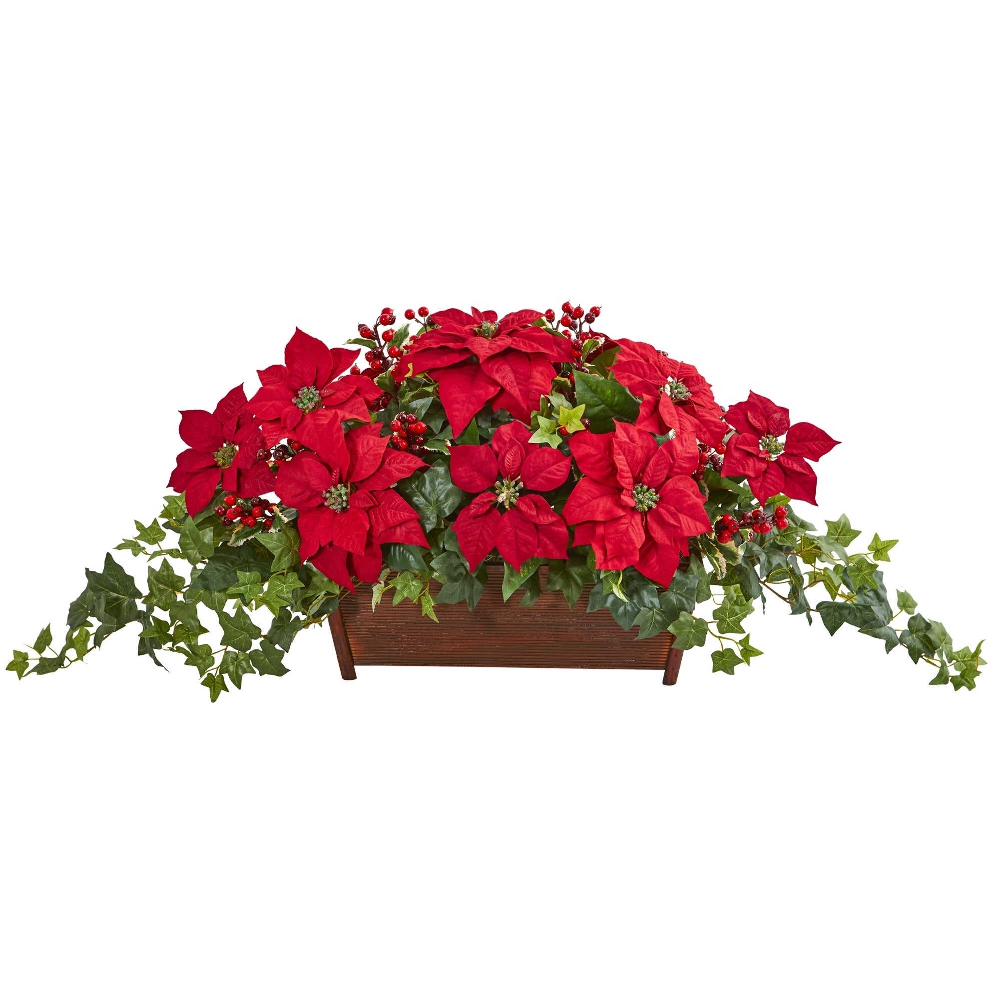Poinsettia, Puff Ivy and Holly Berry Artificial Arrangement