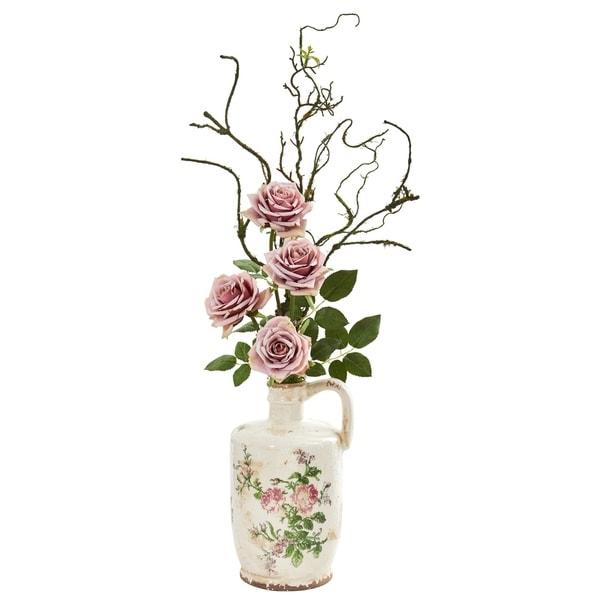 Vintage Rose Artificial Arrangement in Floral Design Pitcher
