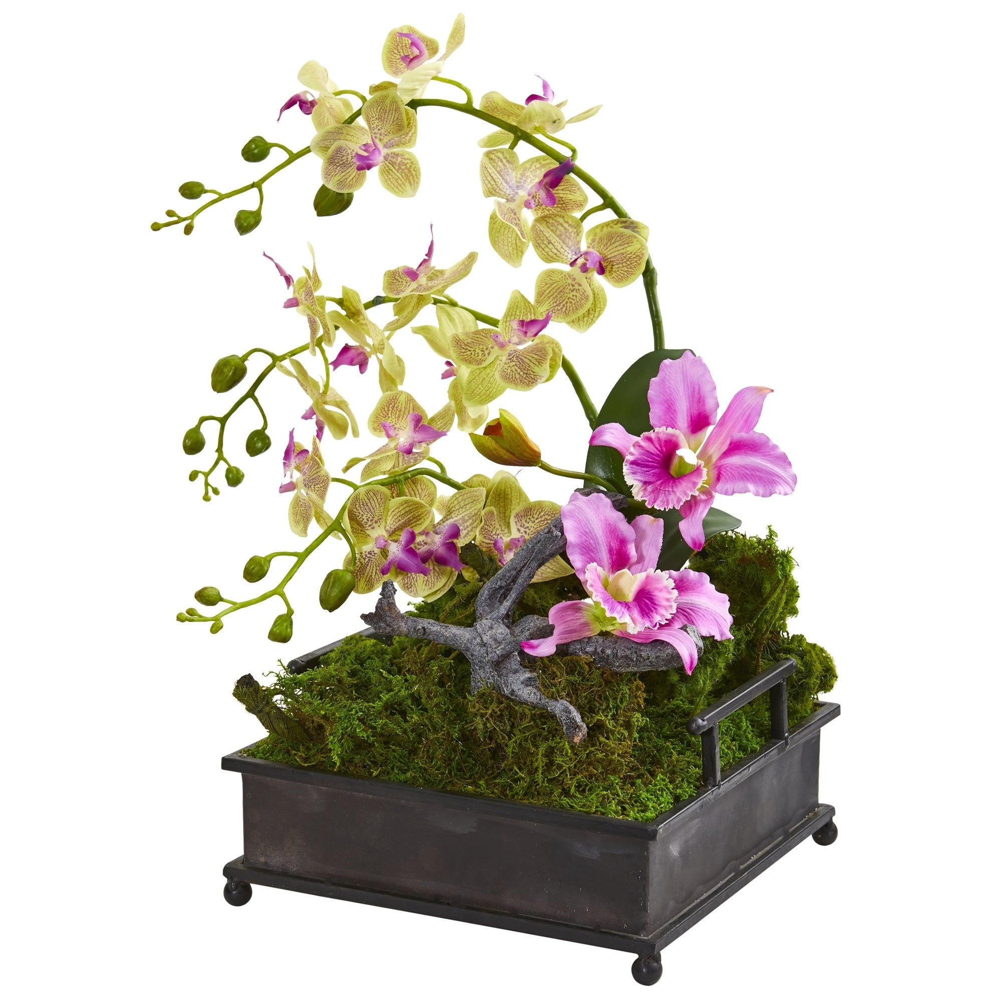 Mixed Orchid Artificial Arrangement in Decorative Tray
