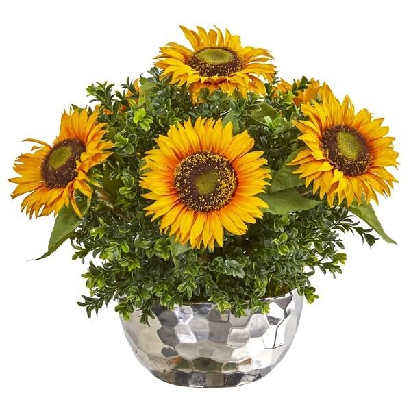 Sunflower Artificial Arrangement in Silver Vase