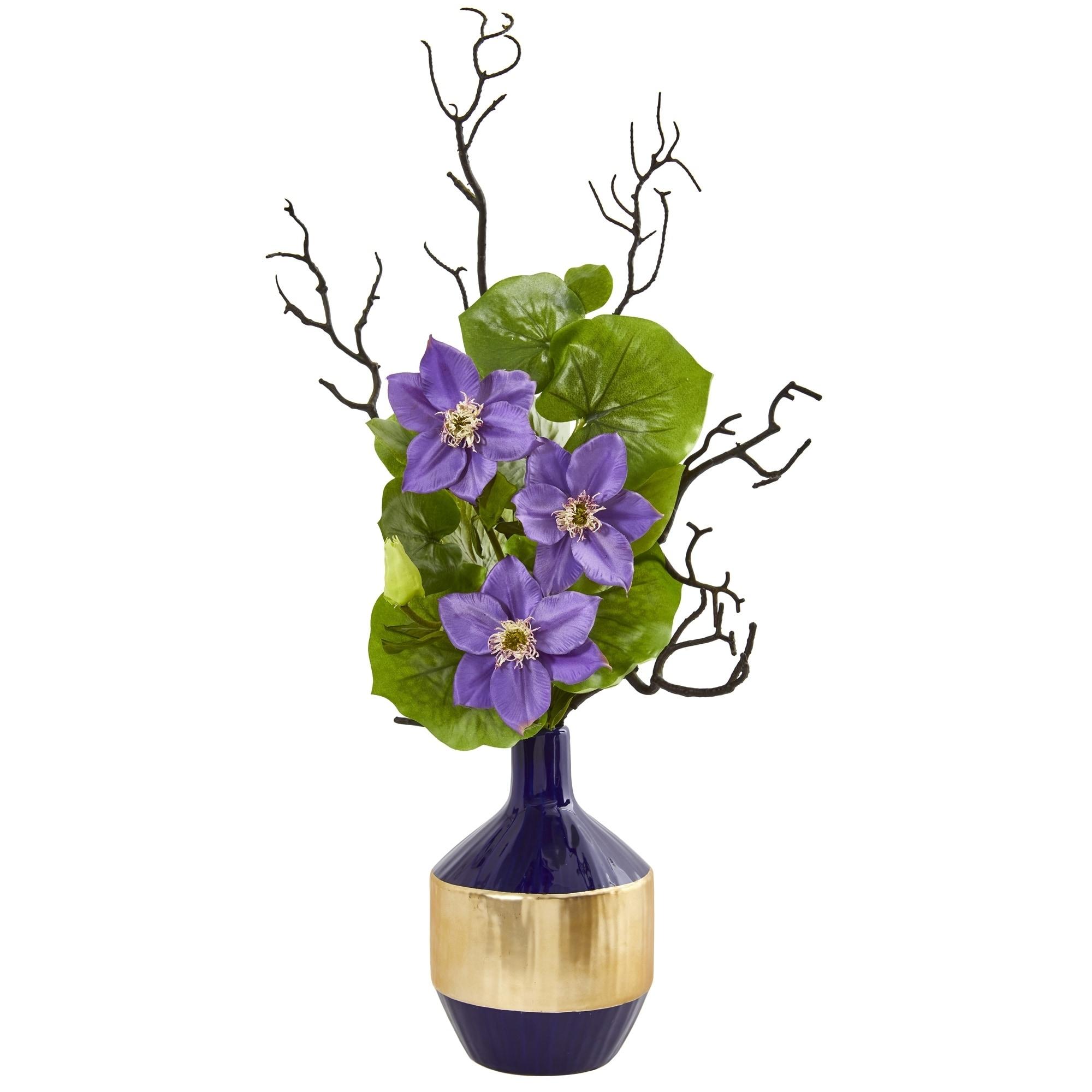 22 Anemone and Lotus Leaf Artificial Arrangement in Vase