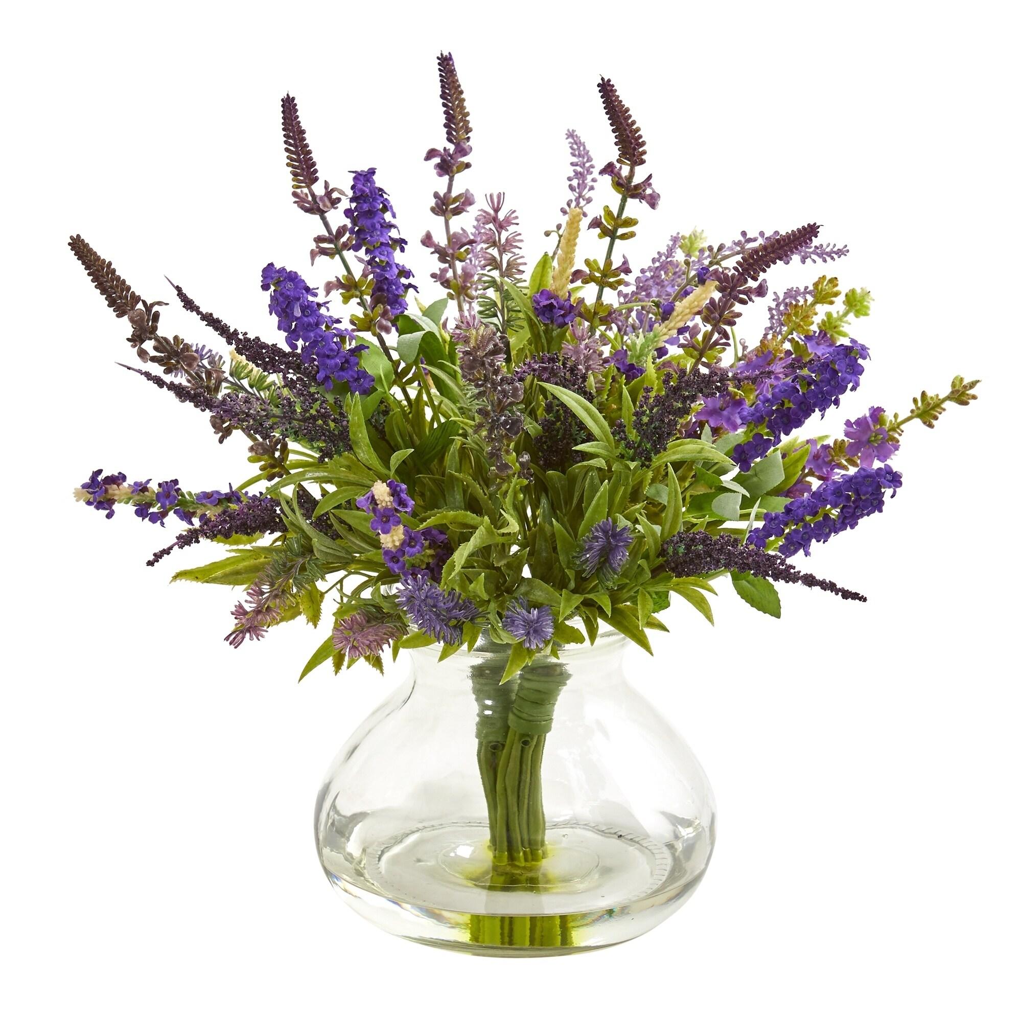 Lavender Bouquet Artificial Arrangement in Vase