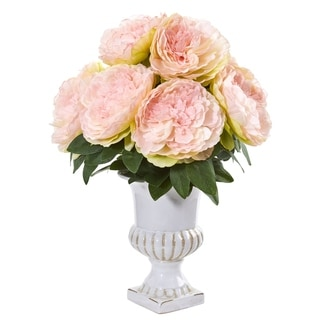 Peony Artificial Arrangement in White Urn