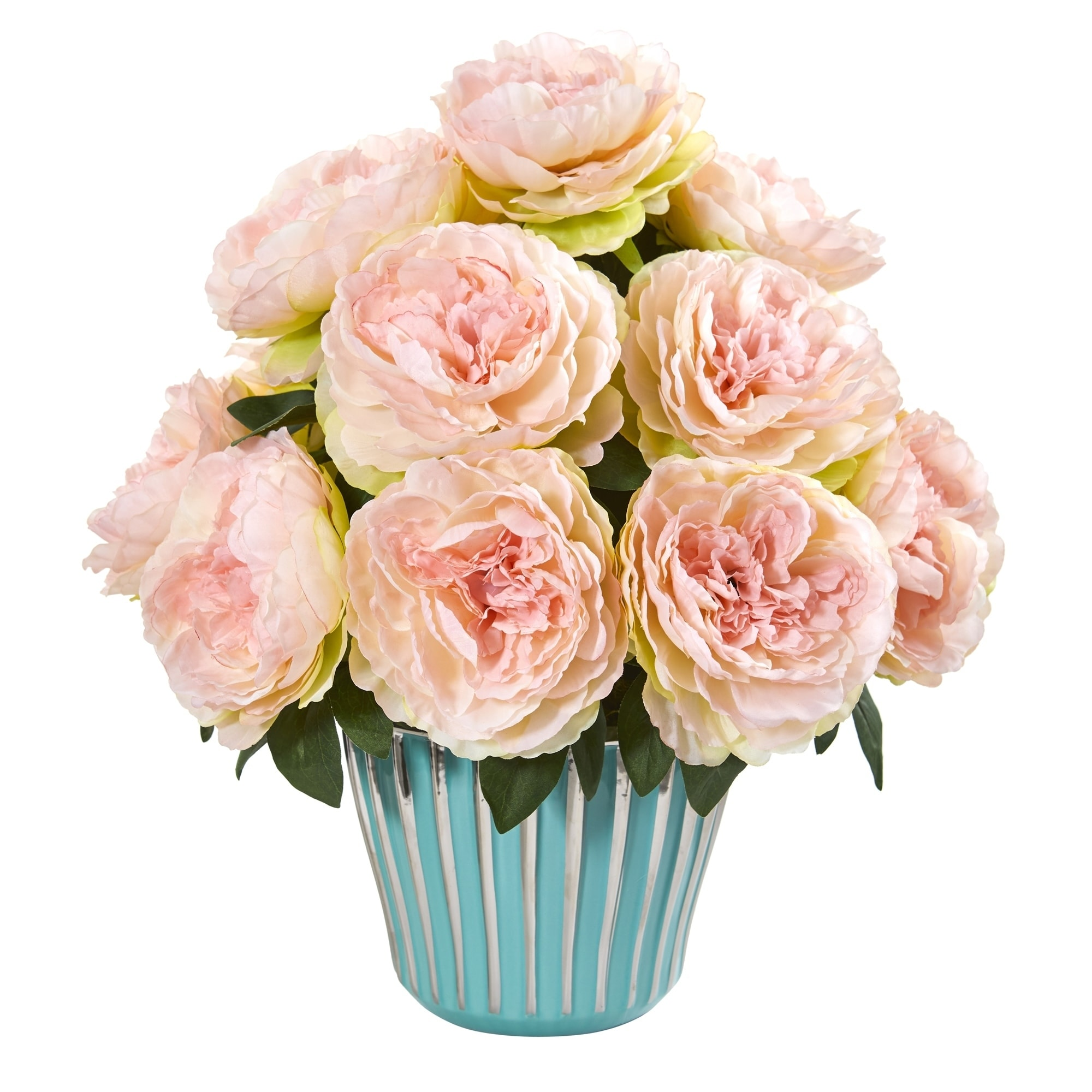 Peony Artificial Arrangement in Turquoise Vase