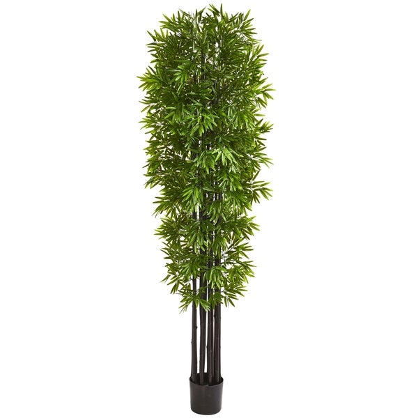 7' Bamboo Artificial Tree with Black Trunks UV Resistant (Indoor/Outdoor)