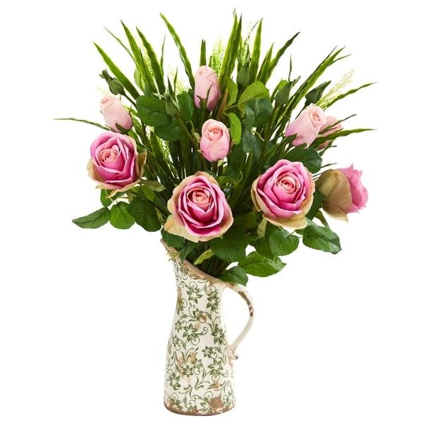 Rose and Vanilla Grass Artificial Arrangement in Vase