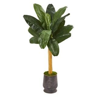 5' Banana Artificial Tree in Ribbed Metal Planter