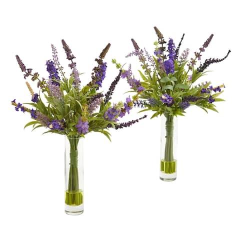 """15"""" Lavender Artificial Arrangement in Glass Vase (Set of 2)"""