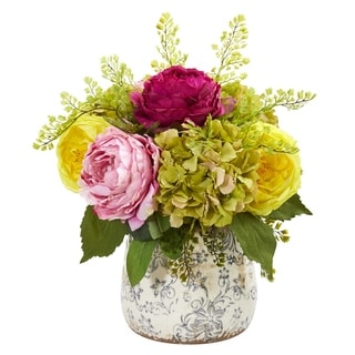 Rose, Peony and Hydrangea Artificial Arrangement in Vase