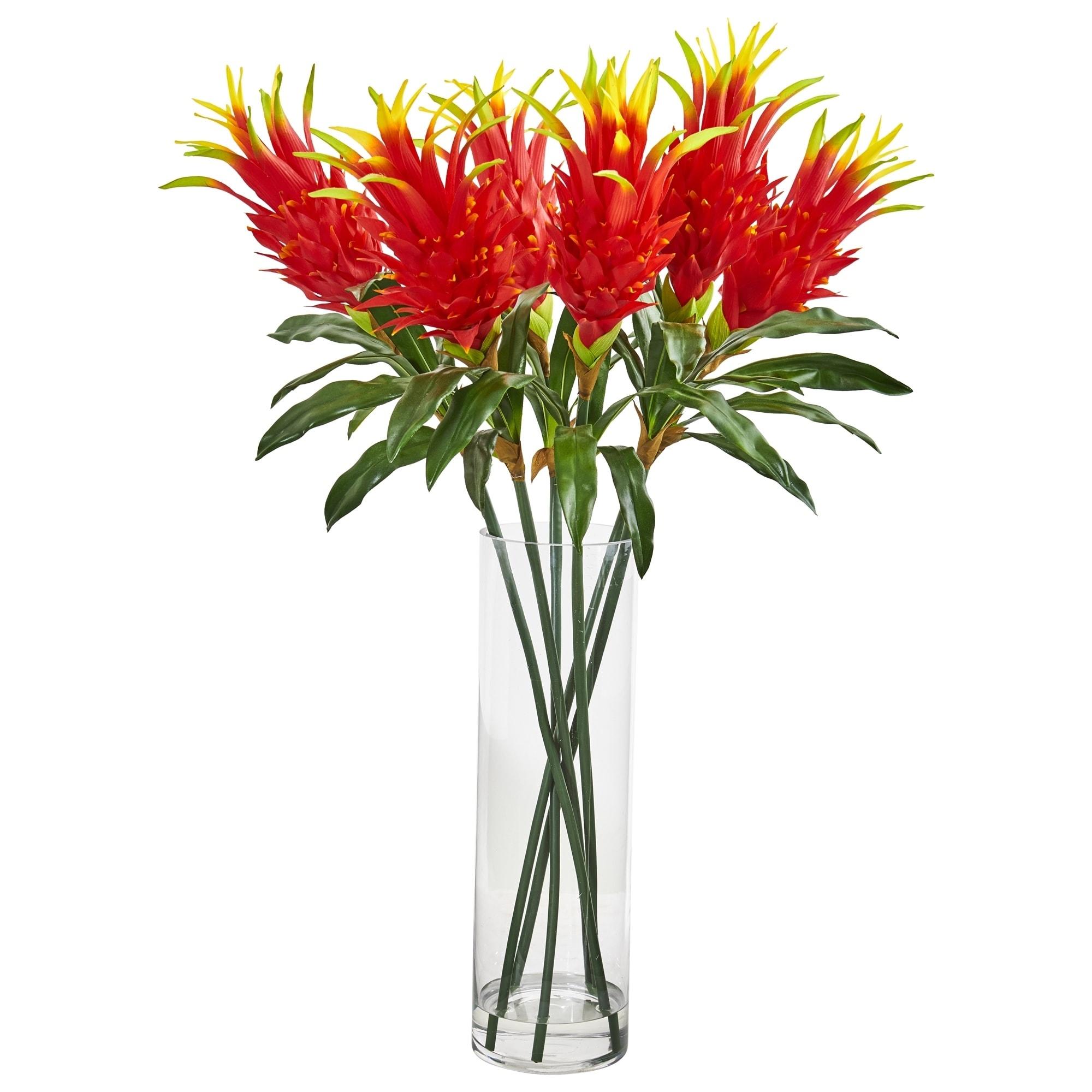 Dragon Fruit Flower Artificial Arrangement in Glass Vase