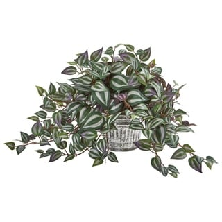 "Link to 15"" Wandering Jew Artificial Plant in Vintage Metal Hanging Planter Similar Items in Decorative Accessories"