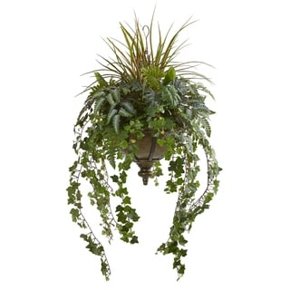 """45"""" Ivy and Mix Greens Artificial Plant in Hanging Metal Bowl"""