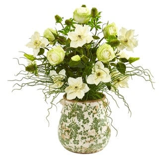 """25"""" Rose, Mixed Floral and Grass Artificial Arrangement in Floral Vase"""